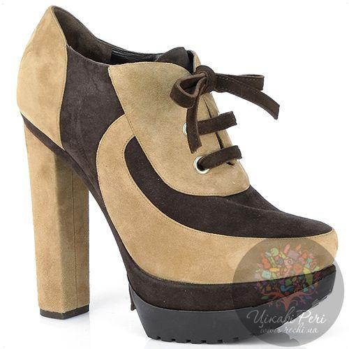 Ботильоны Rodo замшевые бежево-коричневые на шнуровке, фото