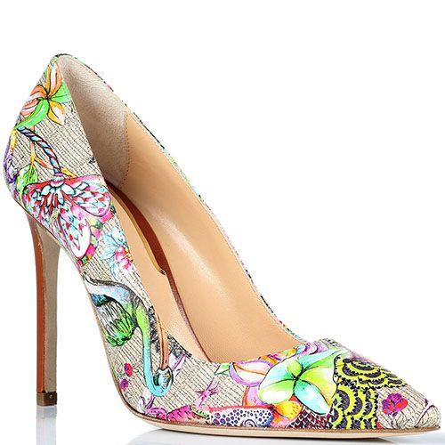 Бежевые туфли-лодочки Etro с цветочным принтом, фото