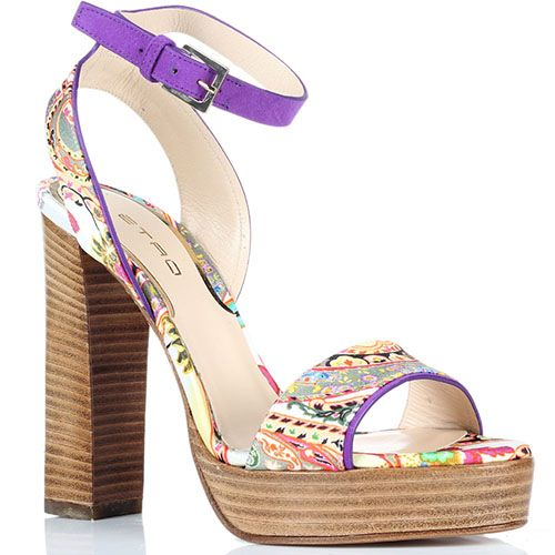Босоножки из текстиля с ярким принтом Etro на толстом каблуке, фото