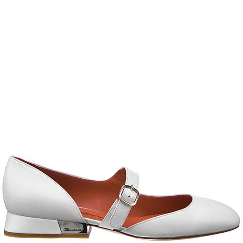 Белые туфли Santoni с ремешком, фото