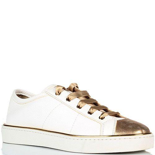 Кожаные кеды белого цвета с золотистым носочком Santoni, фото
