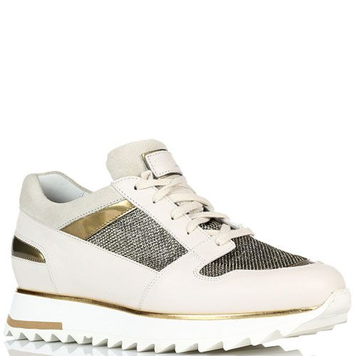 Кожаные белые кроссовки с золотистыми вставками из текстиля Santoni на толстой подошве, фото