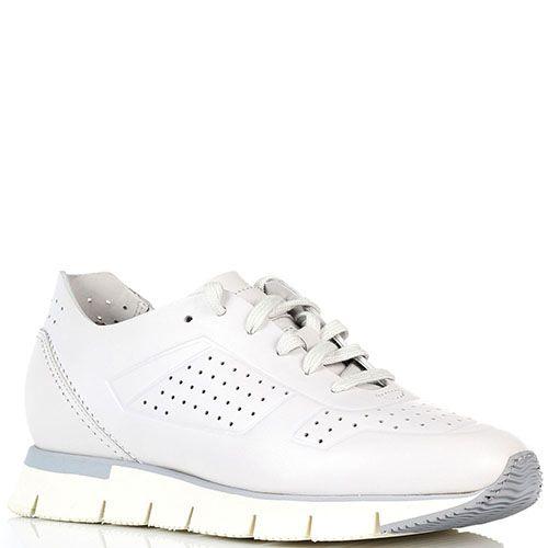 Кожаные кроссовки белого цвета на толстой подошве Santoni с перфорацией, фото