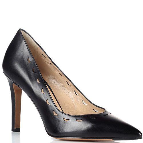 Черные кожаные туфли-лодочки Fratelli Rossetti с перфорацией, фото