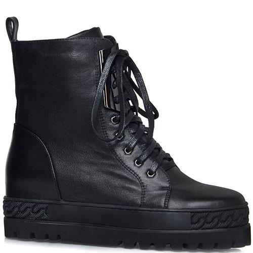Высокие ботинки Prego из натуральной кожи черного цвета на толстой подошве, фото