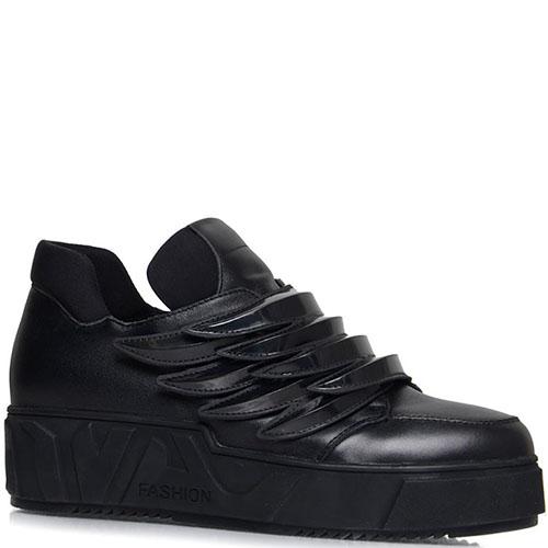 Черные кожаные кеды Prego на липучках с декором в виде крыла, фото