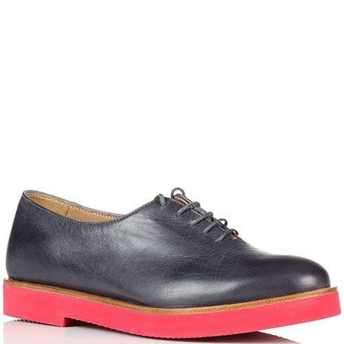 Кожаные туфли на шнуровке Fratelli Rossetti на тлстой красной подошве, фото
