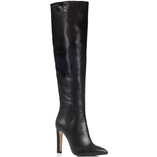 Кожаные сапоги на высоком каблуке The Seller черного цвета с узким носком, фото