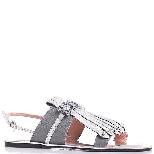 Серебристые сандалии Pollini с декором-стразами, фото