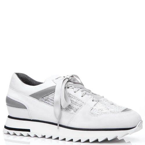 Кроссовки Santoni белого цвета со вставками буклированной ткани, фото