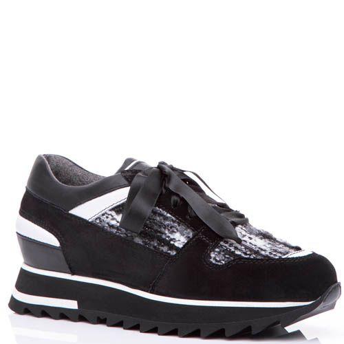 Кроссовки Santoni черного цвета со вставками буклированной ткани, фото