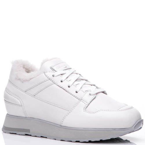Кроссовки Santoni белого цвета кожаные с мехом, фото