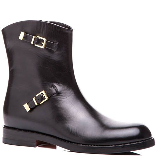 Ботинки Santoni черного цвета с декоративными ремешками-вставками, фото