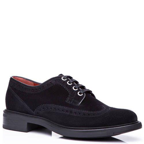 Туфли-оксфорды Santoni замшевые черного цвета с перфорированным узором на носке, фото