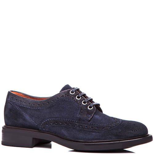 Туфли-броги Santoni синего цвета замшевые, фото