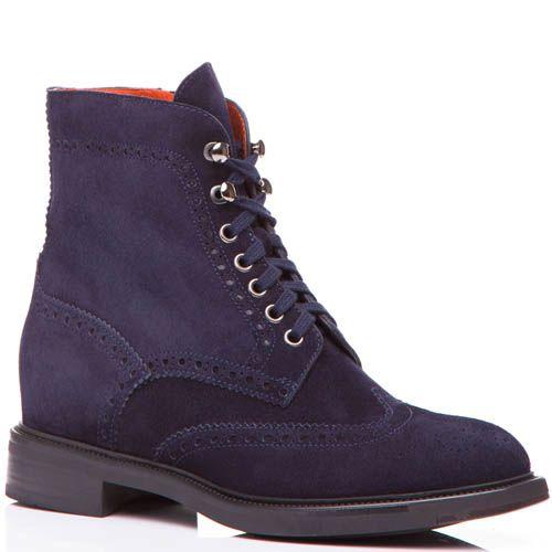 Ботинки Santoni синего цвета замшевые с перфорацией, фото