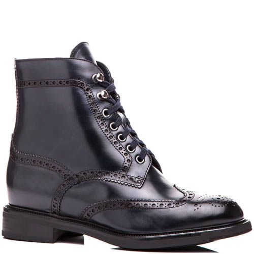 Ботинки Santoni темно-синего цвета кожаные с перфорацией, фото