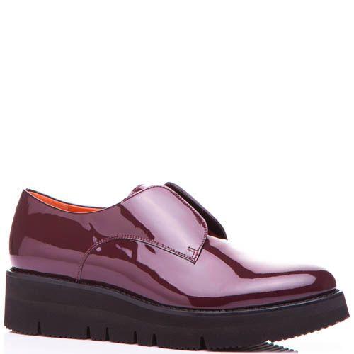 Туфли Santoni бордового цвета лаковые на толстой подошве, фото