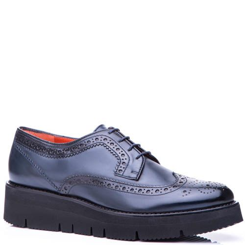 Туфли-броги Santoni синего цвета на небольшой платформе, фото