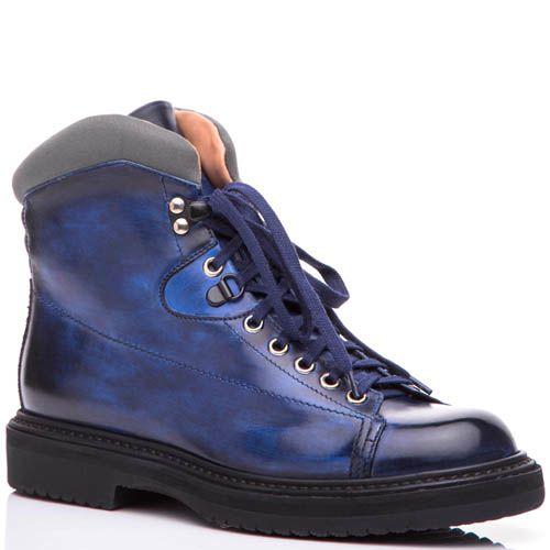 Ботинки Santoni синего цвета с текстильной вставкой вокруг лодыжки, фото