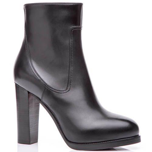 Ботильоны Santoni черного цвета из гладкой кожи и на высоком каблуке, фото
