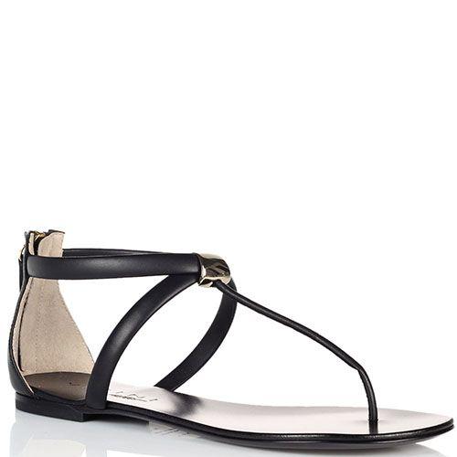 Черные кожаные сандалии Vicini с молнией на пяточке, фото