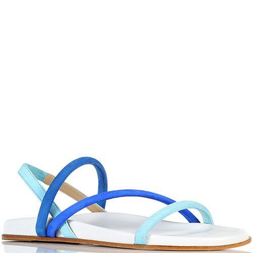 Замшевые босоножки голубого Vicini на плоской подошве, фото