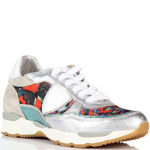 Кроссовки из кожи серебристого цвета с яркими текстильными вставками Philippe Model, фото