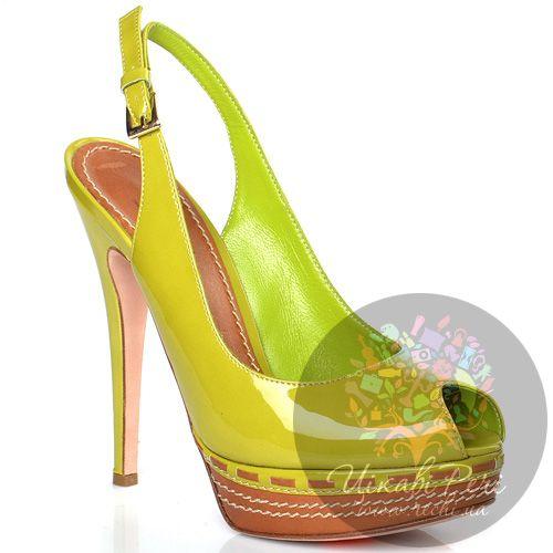 Босоножки Sebastian лимонно-зеленые кожаные лаковые, фото