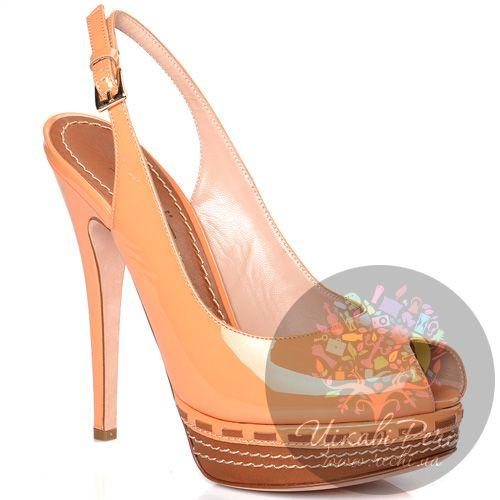 Босоножки Sebastian персиковые кожаные лаковые, фото
