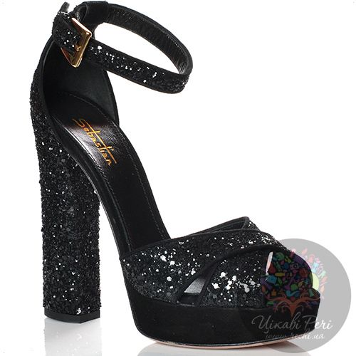 Босоножки Sebastian на каблуке-столбике черные кожаные сияющие с обработкой, пайетками и стразами, фото