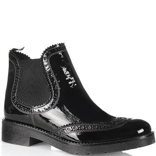 Черные высокие ботинки-челси Tosca Blu Cyprus кожаные лаковые, фото