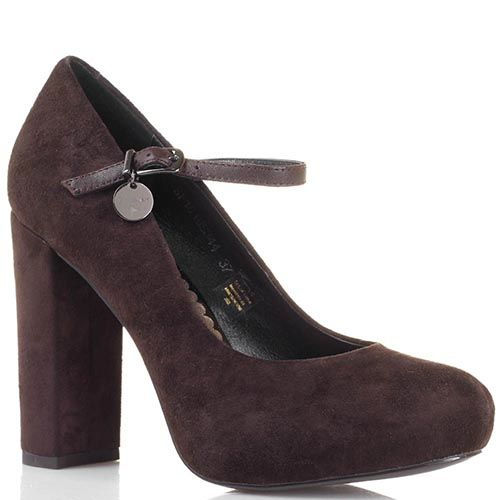 Замшевые туфли коричневого цвета Tosca Blu на ремешке, фото