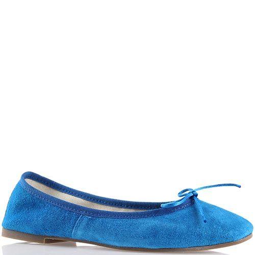 Балетки Ovye синего цвета замшевые с бантиком, фото