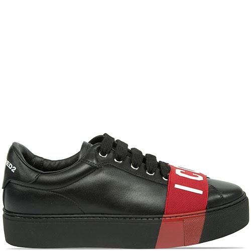 Черные кеды Dsquared2 с красным декором, фото