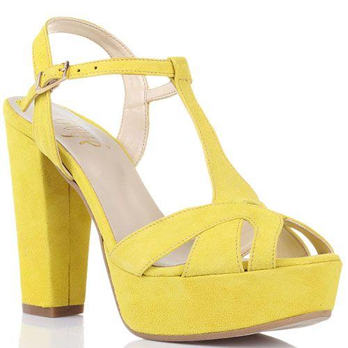 Замшевые босоножки Ovye ярко-желтого цвета на толстом каблуке, фото