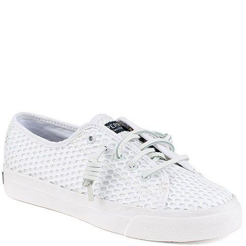 Текстильные кеды Sperry белого цвета на шнуровке, фото