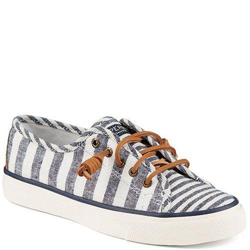 Полосатые кеды Sperry бело-голубого цвета на шнуровке, фото
