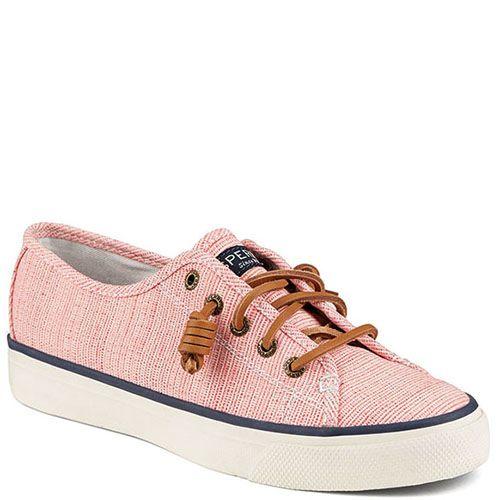 Кеды Sperry нежно-розового цвета с синей полосочкой вдоль подошвы, фото