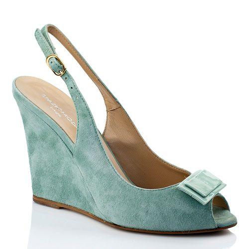 Туфли на танкетке SpazioModa мятного цвета замшевые, фото