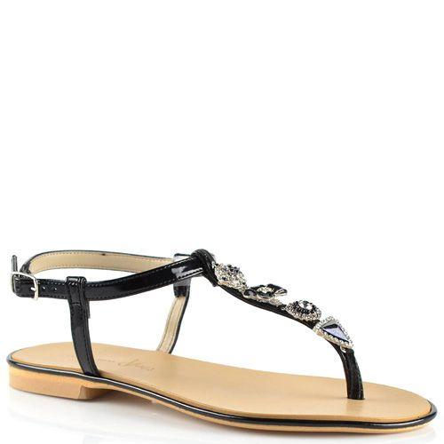 Черные сандалии Tosca Blu кожаные лаковые открытые с красивым декором, фото