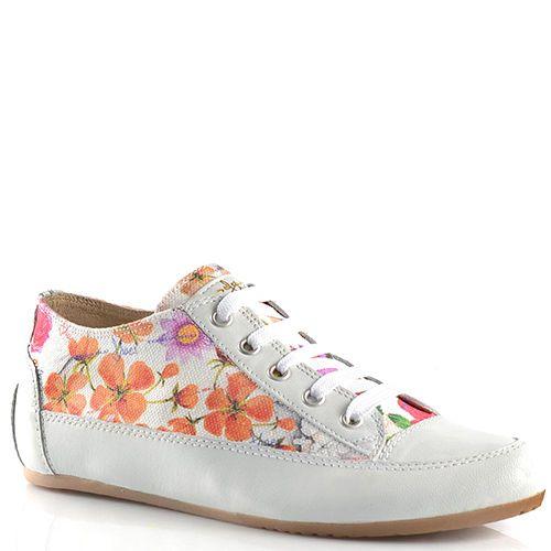 Кеды Tosca Blu из белой кожи и текстиля с цветочным принтом, фото