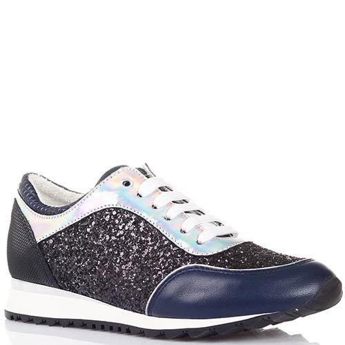 Кроссовки Tosca Blu синего цвета со вставками из черного и серебристого глиттера, фото
