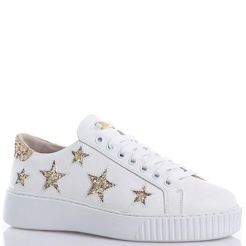 Белые кеды Tosca Blu с золотистыми звездочками, фото