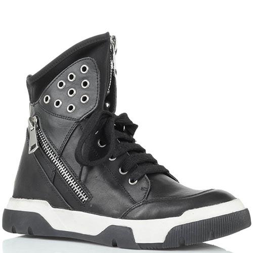 Высокие кожаные кеды черного цвета Studio Italia с металлическим декором, фото