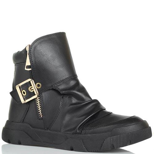 Женские ботинки черного цвета Studio Italia с декоративной пряжкой, фото