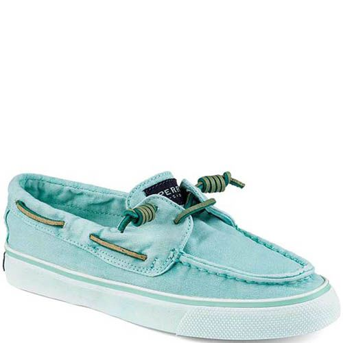 Топсайдеры Sperry женские голубого цвета с зелеными шнурками, фото