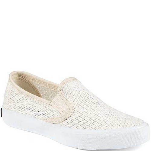 Слипоны Sperry женские плетеные белого цвета, фото