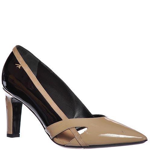 Туфли Marino Fabiani из натуральной кожи бежево-черные, фото