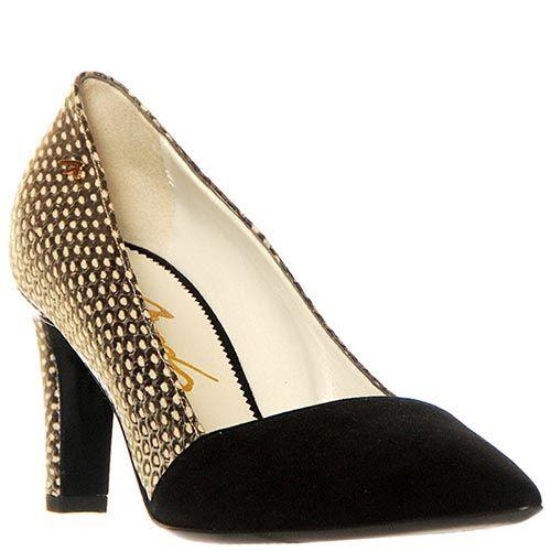 Туфли Marino Fabiani из натуральной кожи с замшевым носком черного цвета, фото